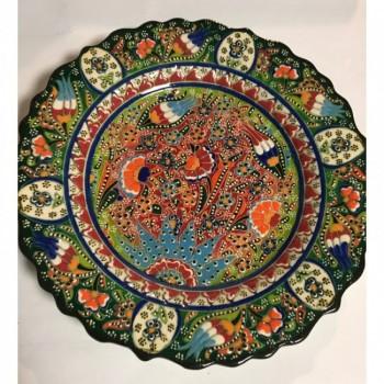 25cm Seramik Kabartma Dekoratif Tabak