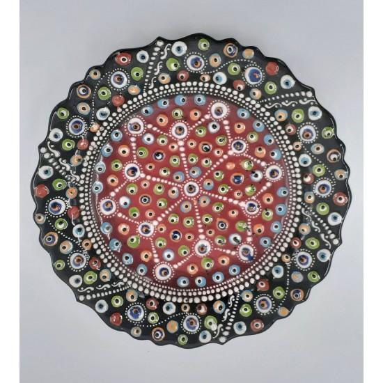 30cm Seramik Nazar Boncuklu Kabartma Tabak