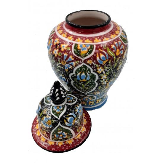 20cm Seramik Kabartma Desen Şah Küp Kavanoz Vazo